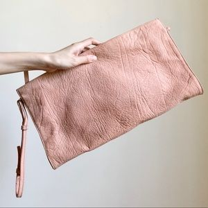 TOPSHOP pink leather cultch
